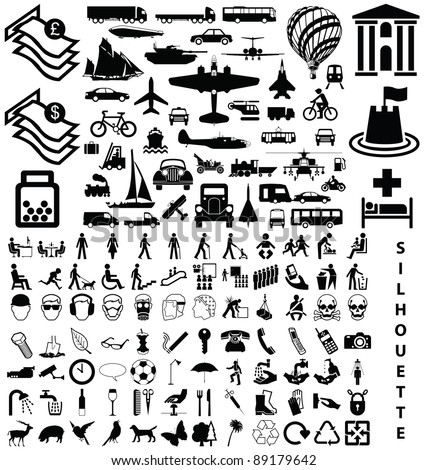 Silhouette collection including transport people animals objects - stock photo