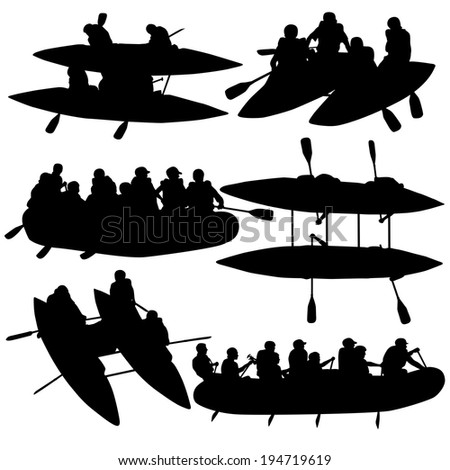 Silhouette collection people rafters on boats,  catamaran and kayaks.   illustration. - stock photo