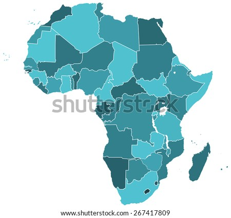 Silhouette contour map of the Africa