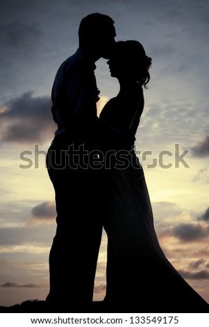 Silhouette couple - stock photo