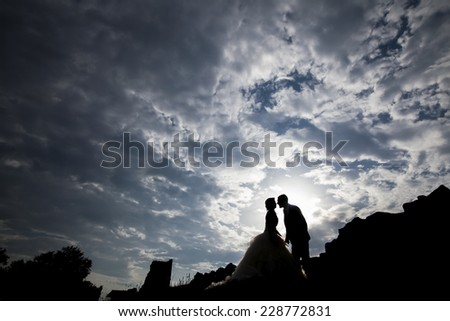 Silhouette couple - stock photo