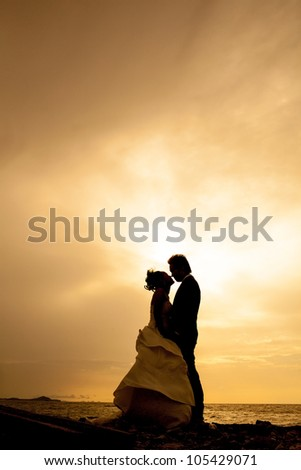 silhouette couple love and romantic - stock photo