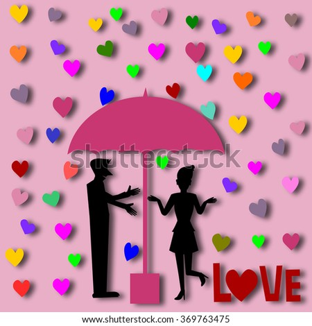 Silhouette couple love in umbrella illustration. paper cut style