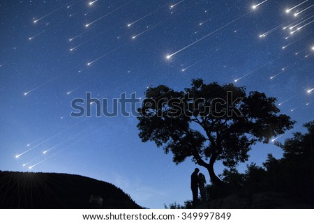 Silhouette couple under a tree and enjoying Star shower  in nights cape - stock photo