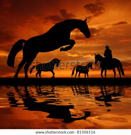 Silhouette cowboy with horses in the sunset