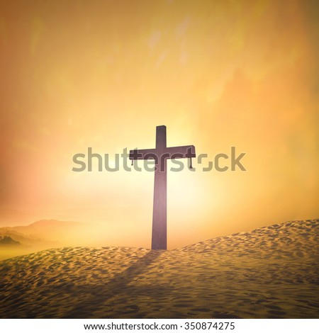 Silhouette cross on blur beautiful sunset with amazing light background. Merry Christmas Card Thankful Adoration Glorify Peace Evangelical Hallelujah Blessing Amen Hope Religion concept
