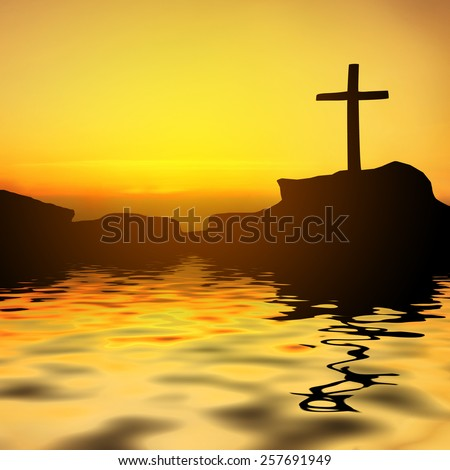 Silhouette cross reflection on flood. - stock photo