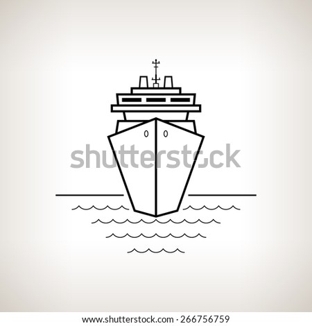 Silhouette cruise ship, passenger ship or carrier on a light background,  black and white  illustration - stock photo
