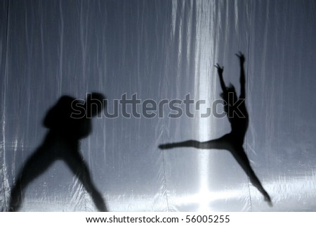 silhouette dancers of contemporary ballet