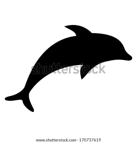 silhouette dolphin - stock photo
