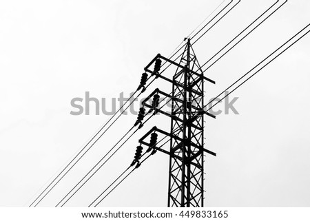 Silhouette electric pole and cable line