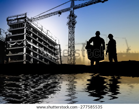 silhouette engineer looking at blueprint over Blurred construction worker on construction site riverside locations