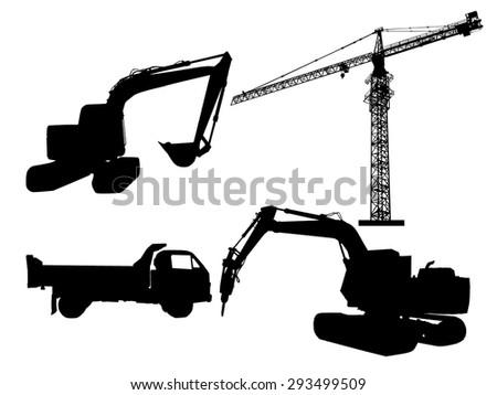 Silhouette excavator and tower crane  - stock photo