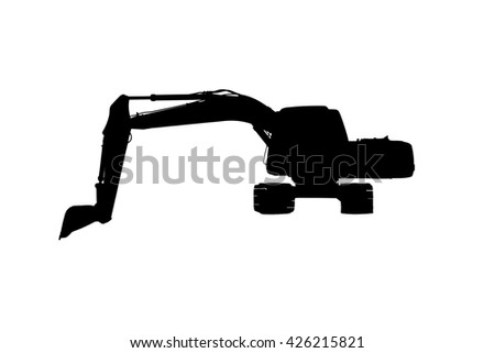Silhouette excavator isolated on white background. - stock photo