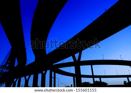 silhouette expressway many routes overlap  - stock photo