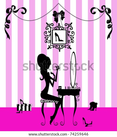 Silhouette fashion illustration of a pretty girl in her boudoir - stock photo