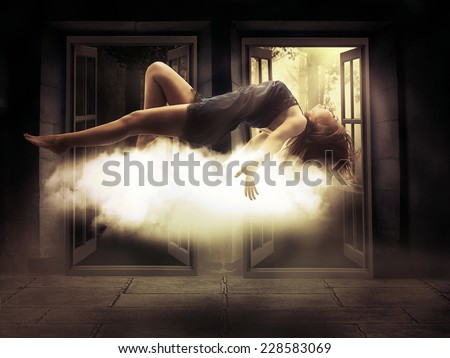 Silhouette female person levitating lady floating girl flying in apartment room. Astral travel, meditation mystical rapture state psychokinesis condition. Decision making. Magic energy show. Illusion - stock photo