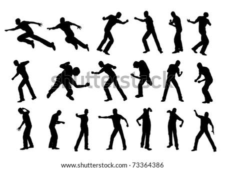 Silhouette fighting - stock photo