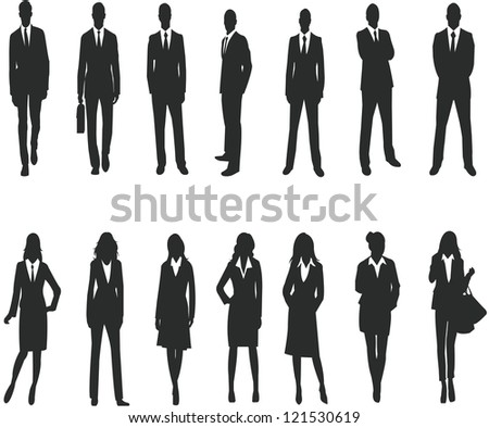 Silhouette for business people - stock photo