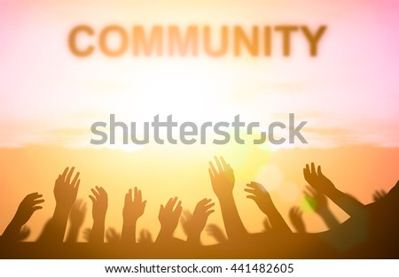 Silhouette for victims awaiting help from volunteer. Those infected with contagious waiting for help from a volunteer from the United Nations. Concept help and hope, waiting helping hand. Community. - stock photo