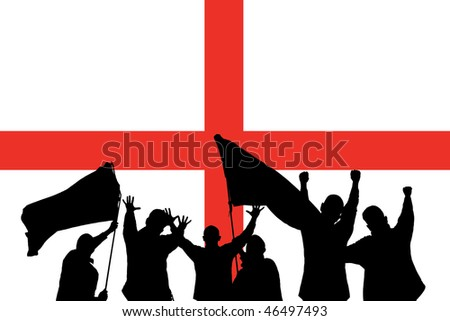 Silhouette from some sport fans in front of the flag from england