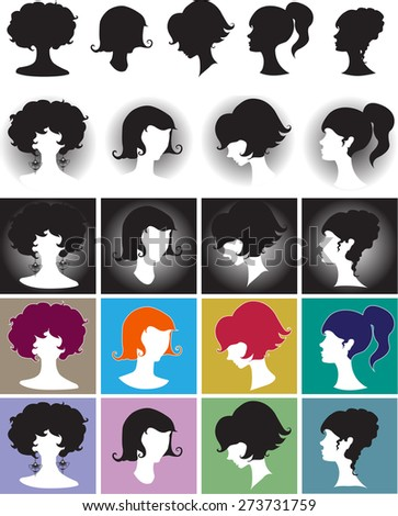 Silhouette girl, Elegant Female Hairstyles  - stock photo