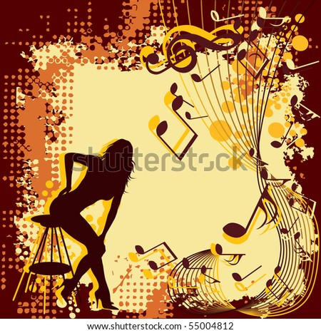 Silhouette girl. Music background.