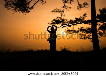 Silhouette girl near the tree with love sign gesture.