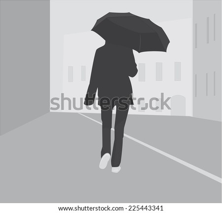 Silhouette girl with umbrella in city - stock photo
