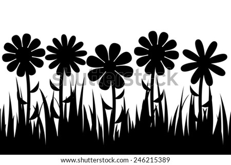 silhouette grass and flowers.  illustration. - stock photo
