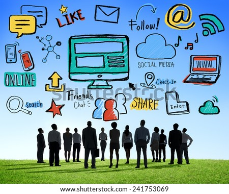 Silhouette Group Business People Discussion Social Media Concept - stock photo