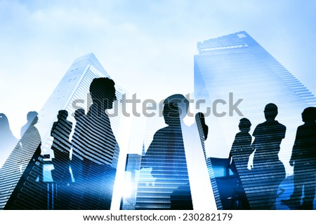 Silhouette Group of Business People Meeting Concept - stock photo