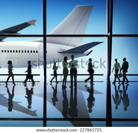 Silhouette Group of Business People with Airplane Concept