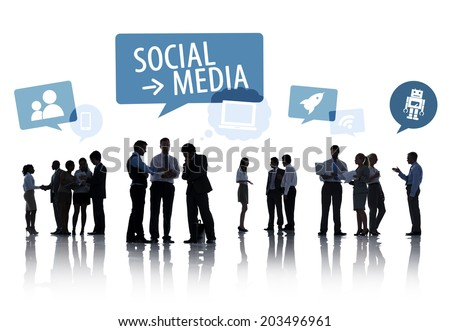 Silhouette Group Of Business People with Social Media Concept - stock photo