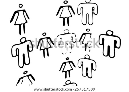 Silhouette Group of People Standing - stock photo