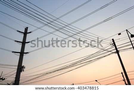 silhouette High-voltage lines.