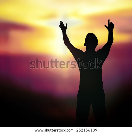 Silhouette human raising hands over blurred the white cross on nature background. - stock photo