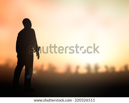 Silhouette human standing over blur the cross on nature background. World Mental Health Day Forgiveness Mercy Repentance Evangelism Right Faith Trust Catholic Hope Meditation Migrant Thinking concept - stock photo