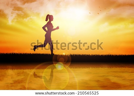 Silhouette illustration of a female figure were jogging at the river bank
