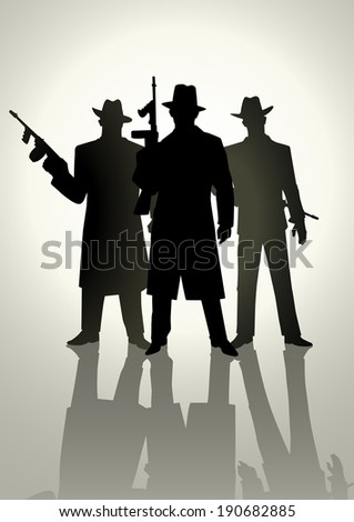 Silhouette illustration of a gangster - stock photo