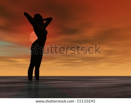 Silhouette Illustration of a nude girl in the ocean - stock photo