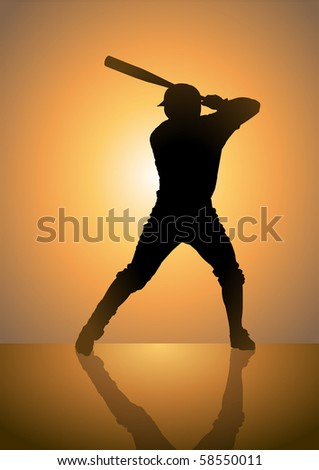 Silhouette illustration of a pinch hitter in baseball game