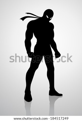 Silhouette illustration of a superhero in a mask  - stock photo