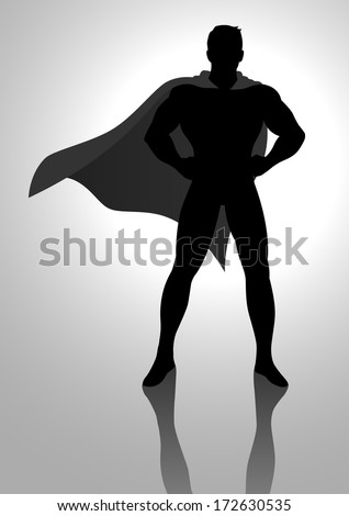 Silhouette illustration of a superhero posing - stock photo
