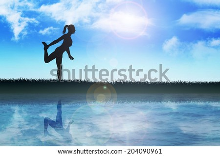 Silhouette illustration of a woman stretching her leg - stock photo