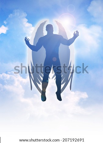 Silhouette illustration of an angel figure on clouds background - stock photo