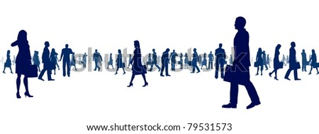 Silhouette illustration of business man and woman doing their activity