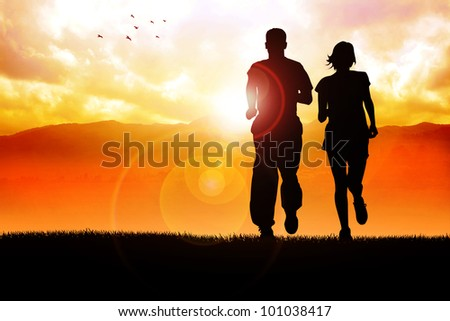 Silhouette illustration of couples jogging in the morning