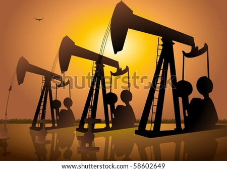 Silhouette illustration of oil drilling - stock photo