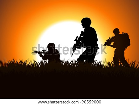 Silhouette illustration of soldiers on the field - stock photo